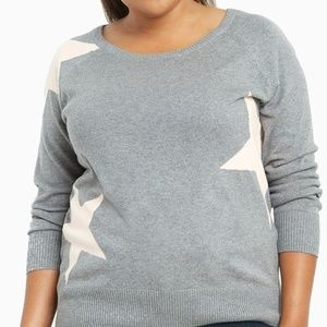 TORRID 0X L Sweater Grey/Pink Stars Pullover Top